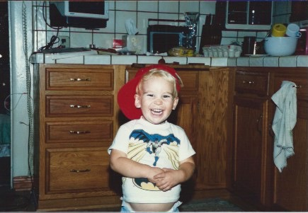 1989. Nov. Clay red hat laugh (2 years 1 month)